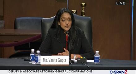 Vanita Gupta at her confirmation hearing for Associate Attorney General.